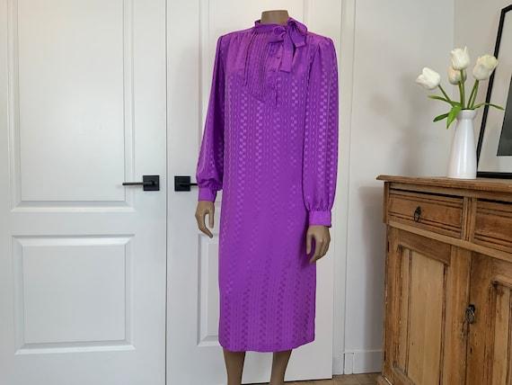 Vintage Pussybow Midi Dress With Pockets, Secretar