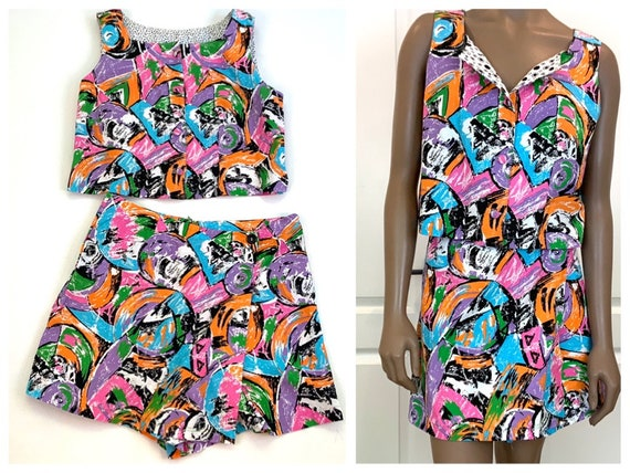 Graphic Patterned Two Piece Skort Set, Large, Matc