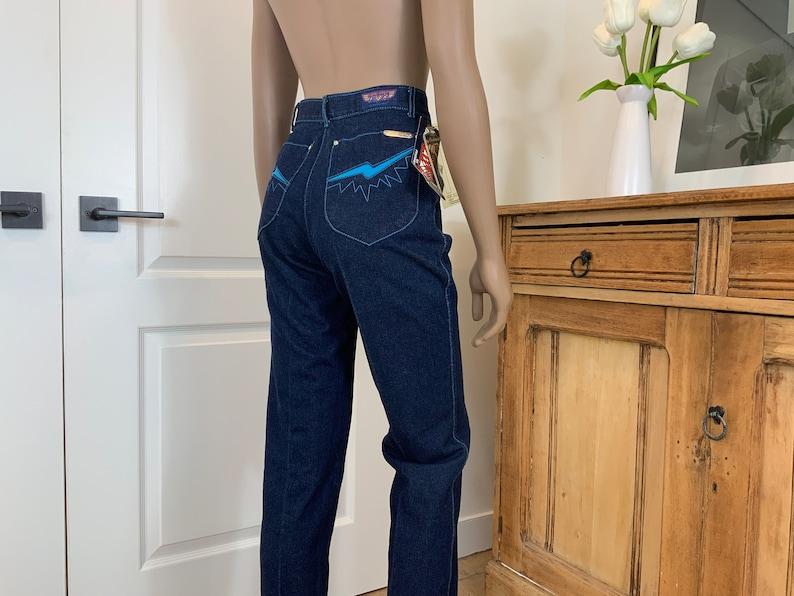 Tags On Lightning Bolt Pocket Unworn 70s Pentimento High Rise Jeans XXS 25\u201d Waist Aqua Blue Stitching on Dark Denim