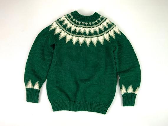 Vintage Green Hand Knit Sweater, Mary Maxim Grandm