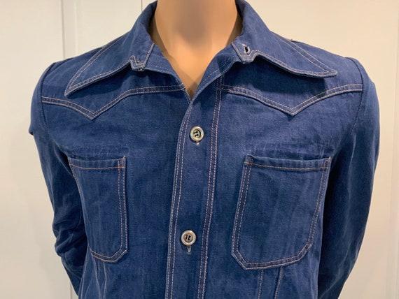 1960s Denim Shirt Jacket, Medium / Large, Unisex,