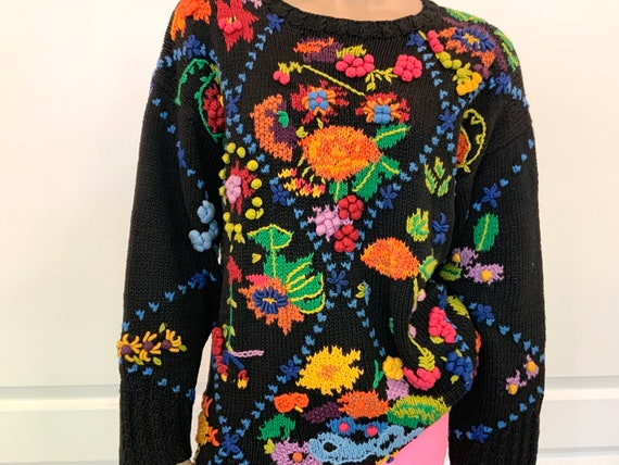 80s Hand Knit Oversized Colourful Sweater, Heritag