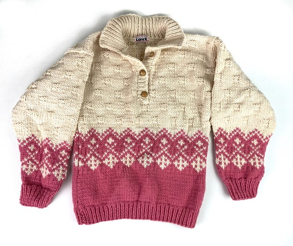 Vintage Hand Knit Chunky Collared Sweater, Large X
