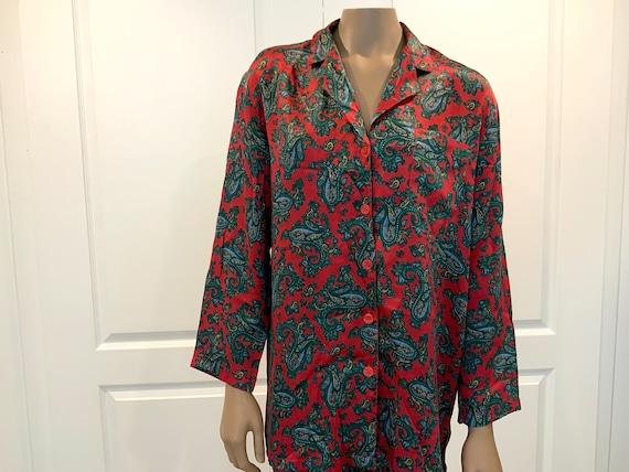 Mr Robert Silk Paisley Pyjamas, Small, Two Piece