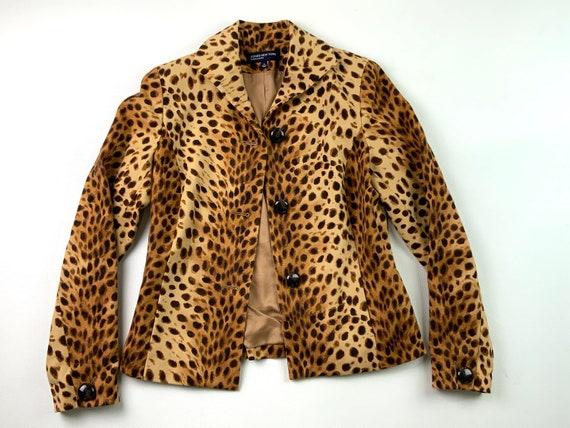 90s Cheetah Print Cotton Blazer, Jones New York Si