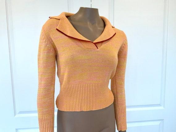 60s Cropped Top Sweater, XS/Small, Orange, Yellow