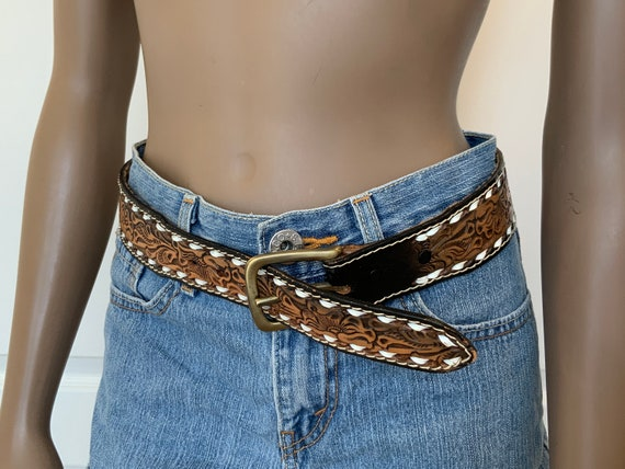 70s NOCONA Hand Tooled Brown Leather Belt, BETTY'… - image 5