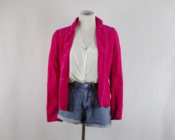 90s Women's Hot Pink Corduroy Blazer Jacket