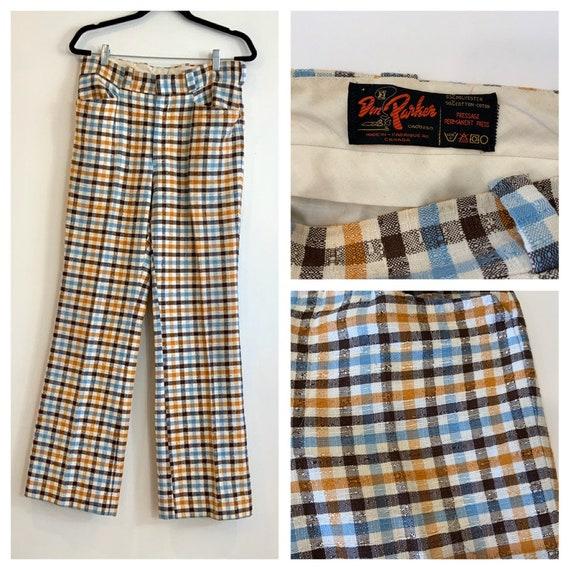 Men's 70s Plaid/Check Pants, 32x32, Don Parker Bra