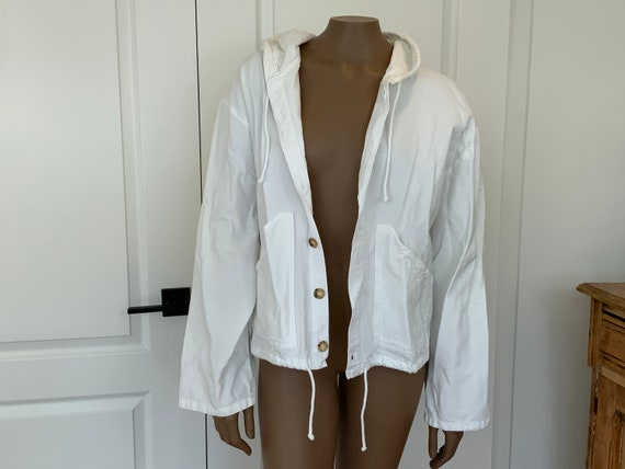 Vintage 90s White Cotton Jacket, Sea Breeze of Cal