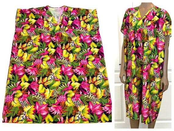 Bright Floral MuuMuu Coverup Dress