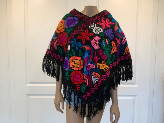 Mexican Poncho with Fringe, Bird / Peacock Poncho