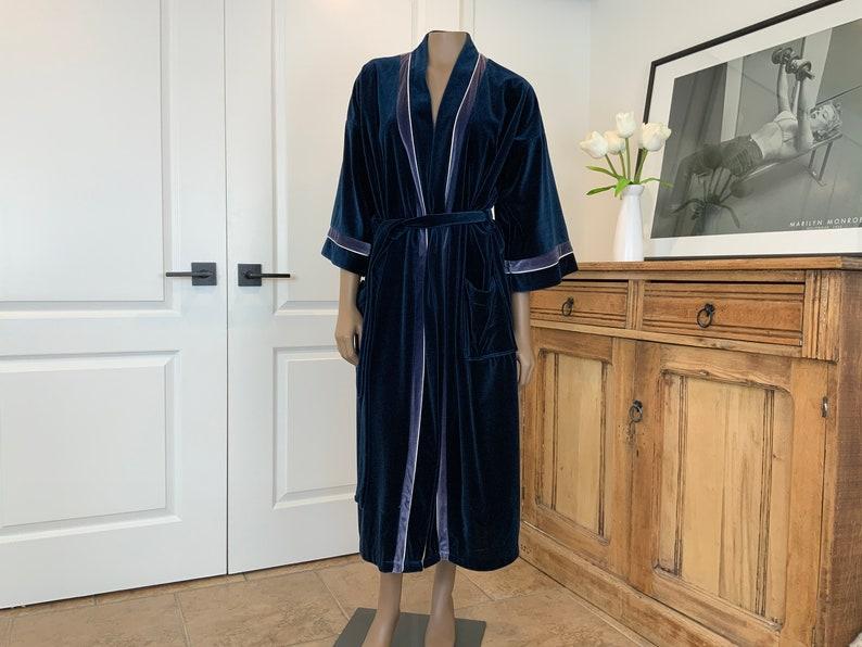 70s Velour Robe Men Leo Chevalier Robe FREE Shipping Extremely Soft Deep Navy Blue