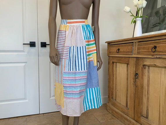 Adorable 70s Cotton Skirt, Small, Patchwork Style
