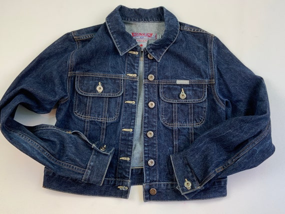 90s Silver Cropped Denim Jacket, Dark Wash, Medium