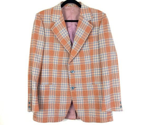 70s Henley Summer Sport Coat Pastel Plaid Pattern,