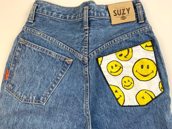 Happy Face Painted Gulbla Jeans, Waist 26