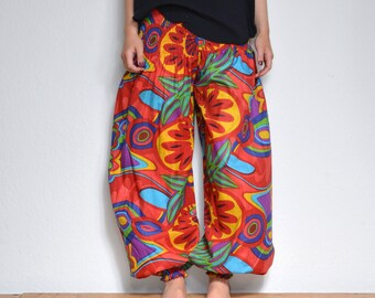 HAREM TROUSERS Bold Genies Print Cotton HIPPY BOHO Alibaba Genie YOGA hippy