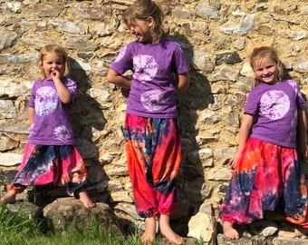 Girls Boys Tie dye harem pants baggy summer hippy hippie boho trousers 1-6 years