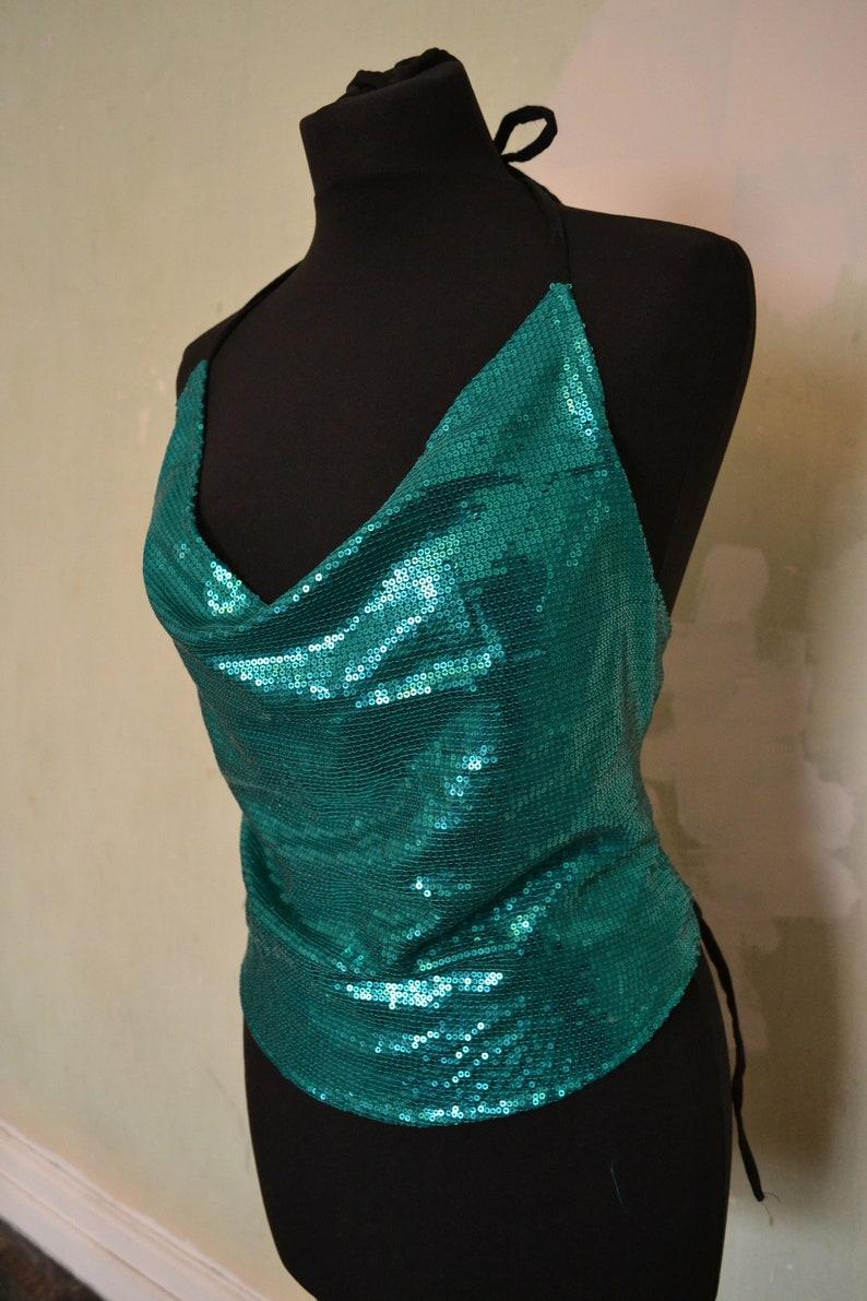 Women Crop Tops Backless Bralette Summer Sequin Vest Top Tie Back Festival Hippy