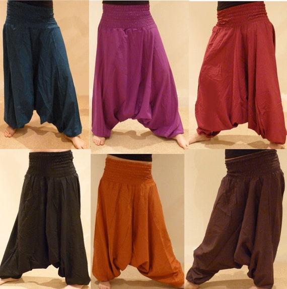 Men Cotton Brown Pockets Harem Yoga Pants Women Baggy Boho Hippie Genie Trouser