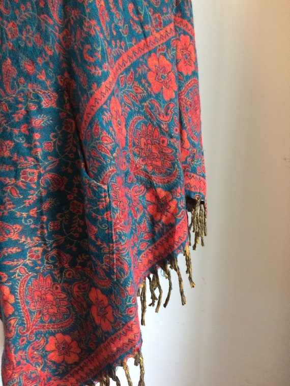 New Acrylic Fleece Shawl Hippy Boho Ethnic Ethical India Recycled Blanket