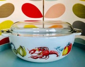 JAJ Pyrex Lobster Casserole Dish With Lid Vintage Retro Milk Glass Comfort Easy Grip Handles