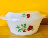 Vintage Arcopal French Pyrex Casserole Dish with Lid Rose pattern turquoise leaves Milk Glass