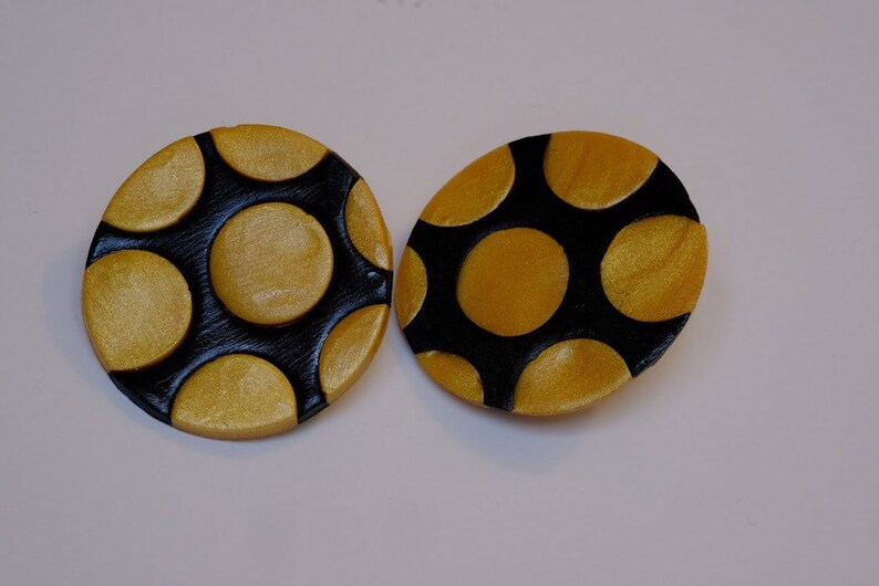 Black and gold polka dots jewelry polymer clay jewelry necklace and earring set handmade jewelry