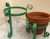 Vintage green metal plant pot holder stands