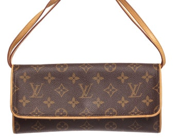 AUTHENTIC Louis Vuitton Monogram Canvas Leather Twin GM Clutch Shoulder Bag 956bfdf6f81b6