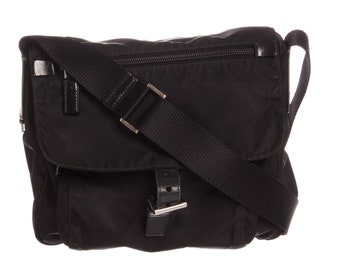 AUTHENTIC Prada Black Nylon Leather Crossbody Flap Bag 537ab698bb6a