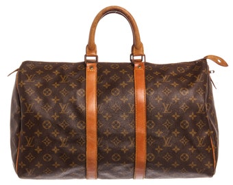 070cf21e31ee AUTHENTIC Louis Vuitton Monogram Canvas Leather Keepall 45 cm Duffle Bag  Luggage