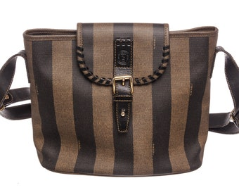 742f42f2d614 AUTHENTIC Fendi Brown Coated Canvas Leather Stripe Shoulder Bag