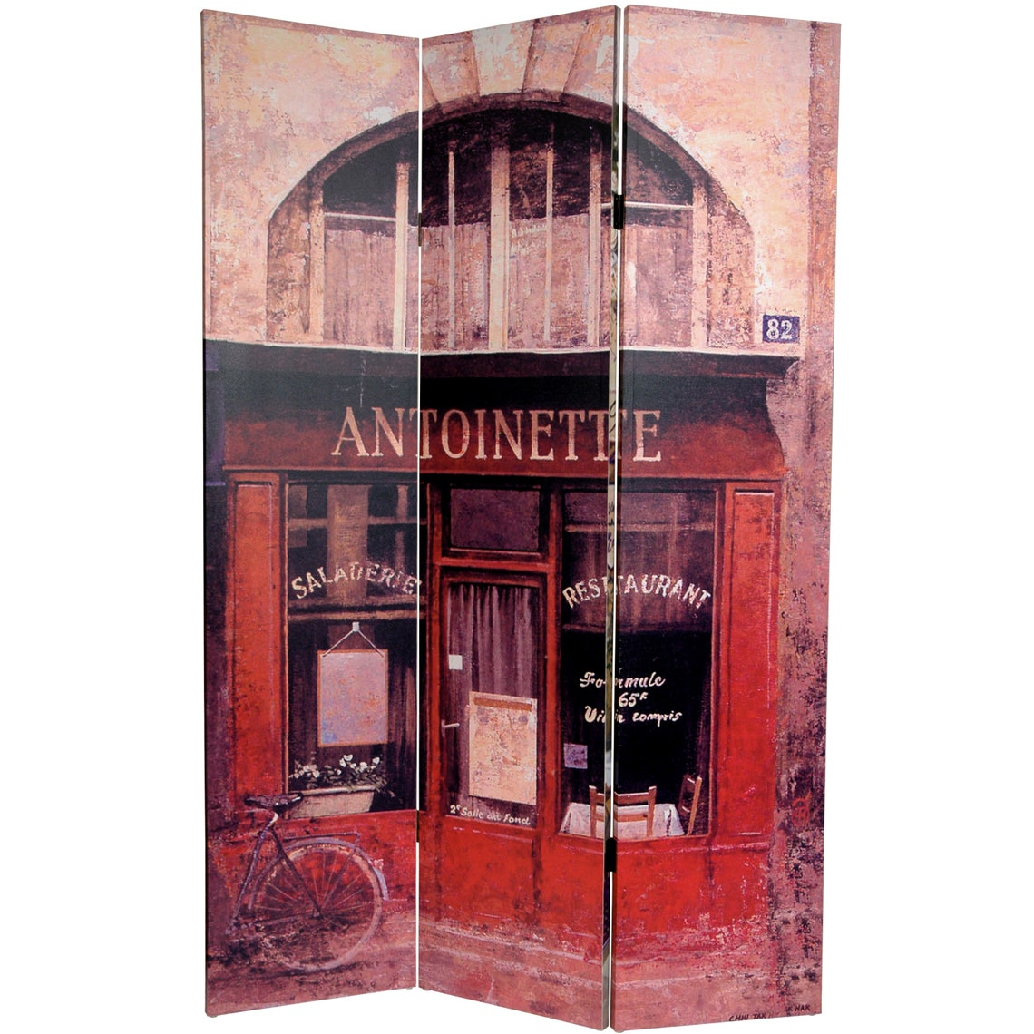 6 ft. Tall Double Sided Brasserie Canvas Room Divider