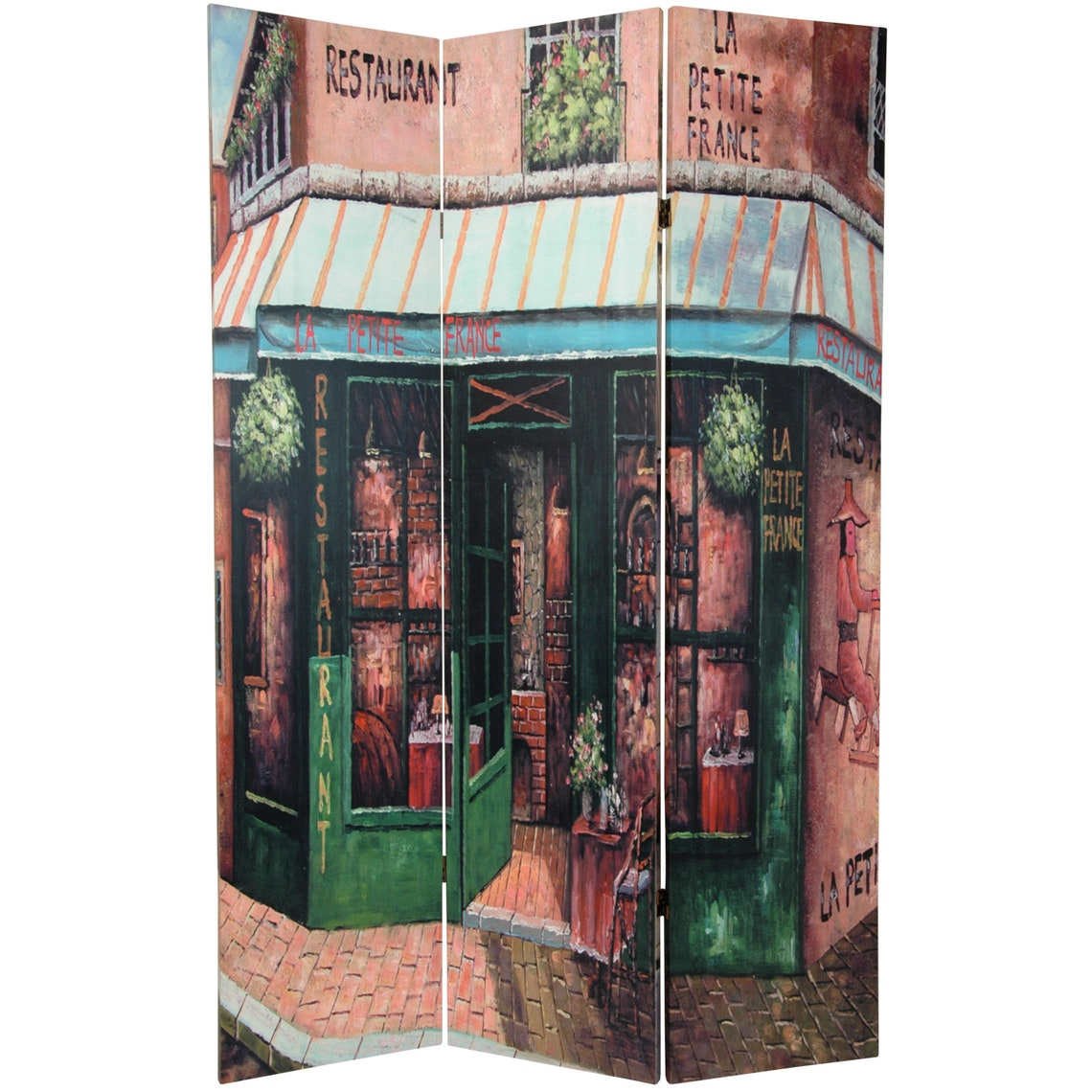 6 ft. Tall Double Sided Parisian Street Room Divider