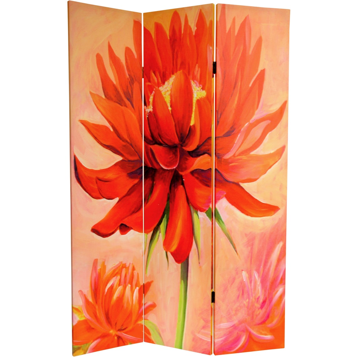 6 ft. Tall Double Sided Poppies and Sunflowers Canvas Room Divider