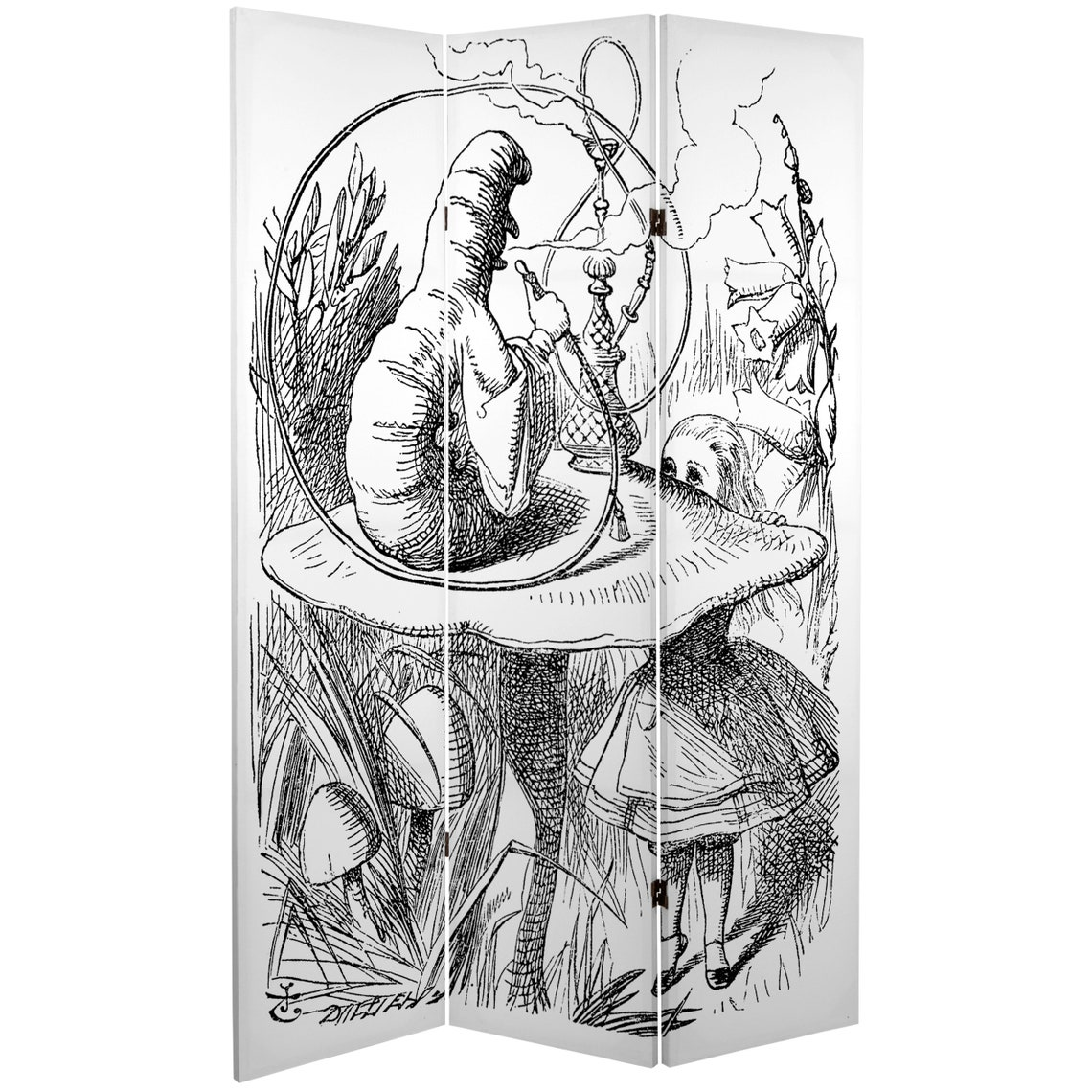 6 ft. Tall Double Sided Alice in Wonderland Canvas Room Divider