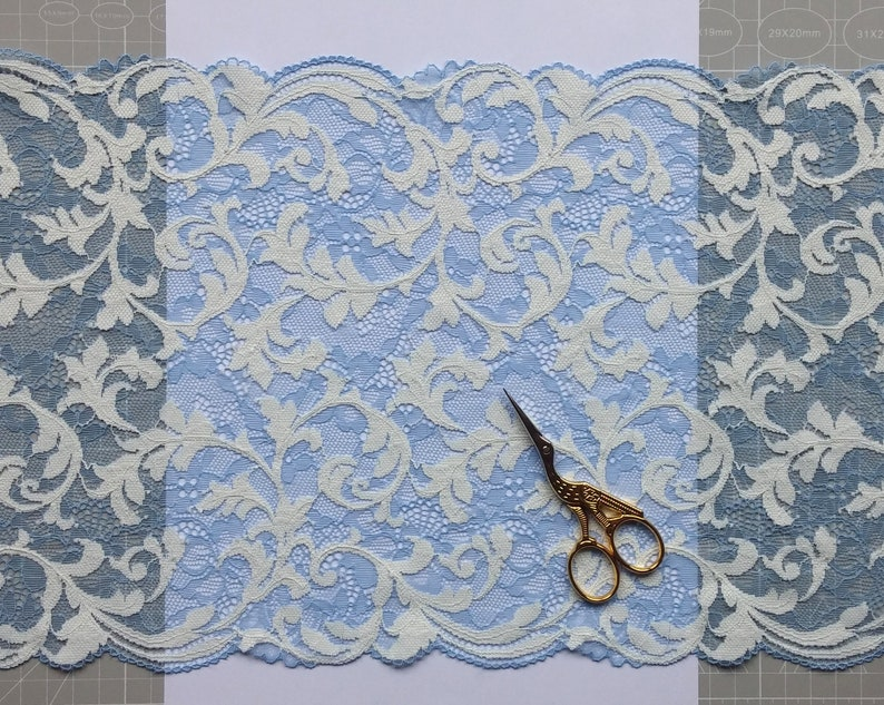 2m Wide Blue Stretch Lace # SL0032 Width 9.44 or 24 cm Elegant Pattern Lingerie Lace Trim
