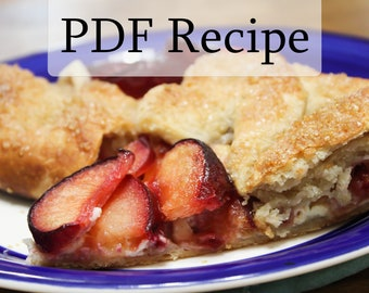 Plum Galette With Lemon Goat Cheese Filling Recipe, PDF Downloadable for Convenience