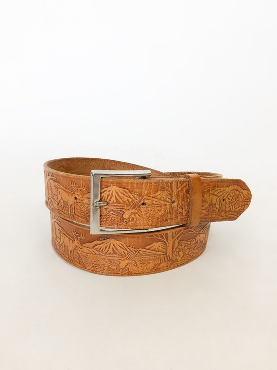 Vintage Tooled Leather Belt