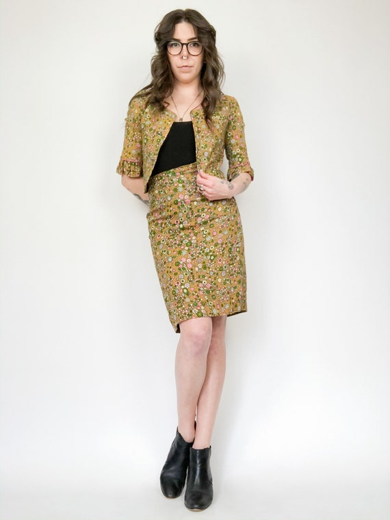 Vintage 60s Floral Two Piece Blazer and Skirt Set - image 2