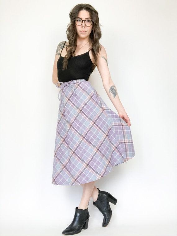 Vintage 80s Plaid Pastel Skirt