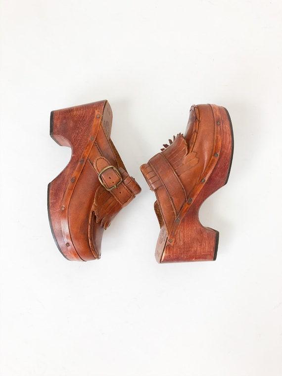 Vintage 70s Botticelli Originals Platform Wooden C