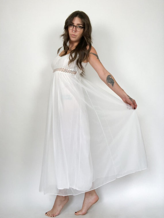 Vintage 80s White Chiffon Nightgown with Cutouts