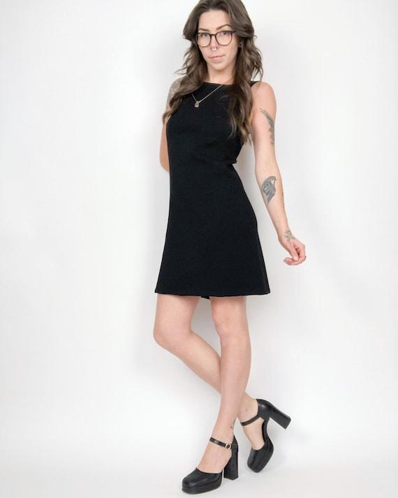 Vintage 60s Mod Black Sleeveless Mini Dress