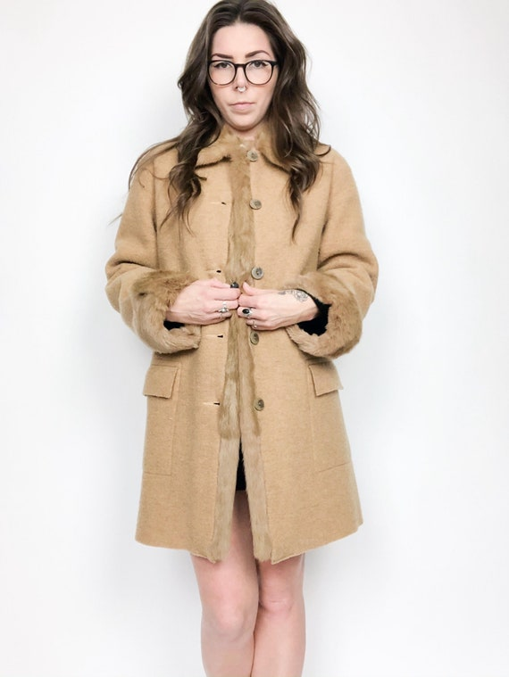 Hilary Radley Fur Trim Wool Coat