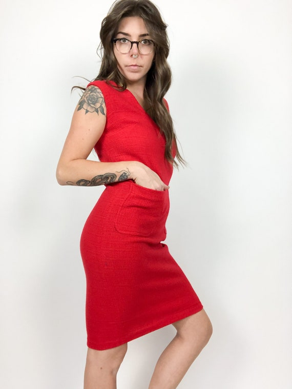 Vintage 60s Duntex Red Mod Dress with Pockets