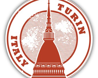Turin Italy Grunge Travel Stamp Car Bumper Sticker Decal 3/'/' or 5/'/'