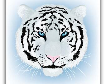 3/'/' or 5/'/' White Tiger Realistic Head Animal Car Bumper Sticker Decal